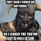 Skyrim Meme Generator - they said i could do anything. so i lerned the thu'um rule