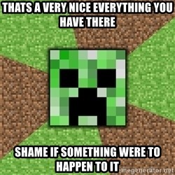 Minecraft Creeper - thats a very nice everything you have there shame if something were to happen to it