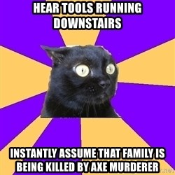 Anxiety Cat - Hear tools running downstairs instantly assume that family is being killed by axe murderer