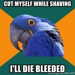 Paranoid Parrot - cut myself while shaving i'll die bleeded