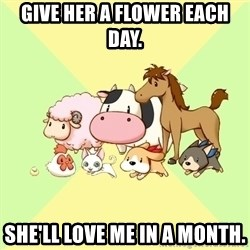 Harvest Moon - Give her a flower each day. She'll love me in a month.