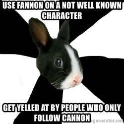 Roleplaying Rabbit - use fannon on a not well known character get yelled at by people who only follow cannon