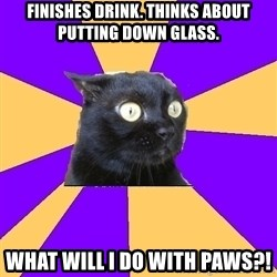 Anxiety Cat - Finishes Drink. Thinks about putting down glass. What will i do with paws?!