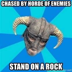 skyrim stan - chased by horde of enemies stand on a rock
