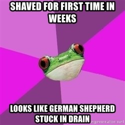Foul Bachelorette Frog - shaved for first time in weeks looks like german shepherd stuck in drain