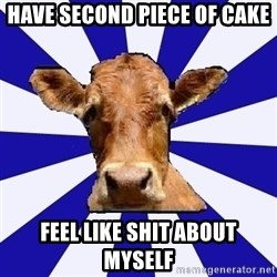 Low self esteem cow - have second piece of cake feel like shit about myself