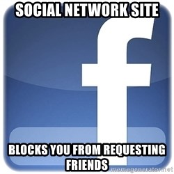 Facebook Logo - social network site blocks you from requesting friends
