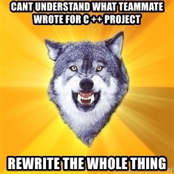 Courage Wolf - cant understand what teammate wrote for c ++ project rewrite the whole thing