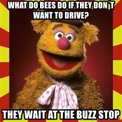 Fozzie Wocka Wocka - what do bees do if they don´t want to drive? they wait at the buzz stop