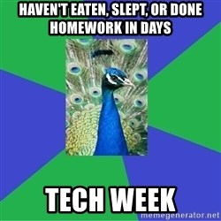 Performing Arts Peacock - HAVEN'T EATEN, SLEPT, OR DONE HOMEWORK IN DAYS TECH WEEK