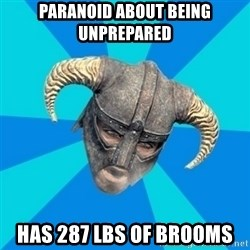 skyrim stan - paranoid about being unprepared has 287 lbs of brooms