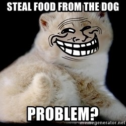 Trollcat - steal food from the dog problem?
