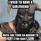 Skyrim Meme Generator - I used to have a girlfriend until she took an arrow to the face