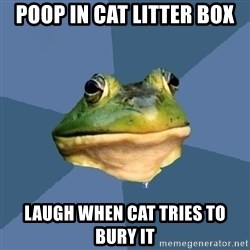 FACEBOOK FROG - poop in cat litter box laugh when cat tries to bury it