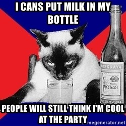 Alco-cat - i cans put milk in my bottle people will still think i'm cool at the party
