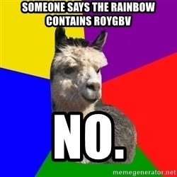 Arashian Alpaca - someone says the rainbow contains roygbv no.