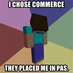 Depressed Minecraft Guy - i chose commerce  they placed me in pas.