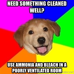 Advice Dog - need something cleaned well? Use ammonia and bleach in a poorly ventilated room