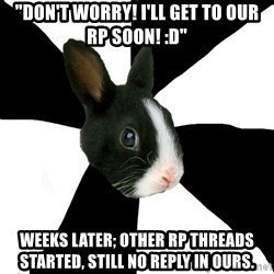 "Roleplaying Rabbit - ""Don't worry! i'll get to our rp soon! :D"" weeks later; other rp threads started, still no reply in ours."