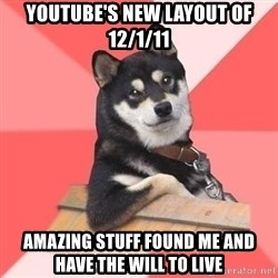 Cool Dog - Youtube'S new layout of 12/1/11 AMAZING STUFF FOUND ME AND HAVE THE WILL TO LIVE