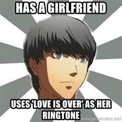 BROSWAGONIST - has a girlfriend uses 'love is over' as her ringtone