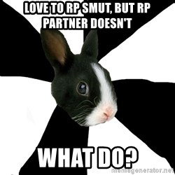 Roleplaying Rabbit - love to rp smut, but rp partner doesn't WHAT DO?