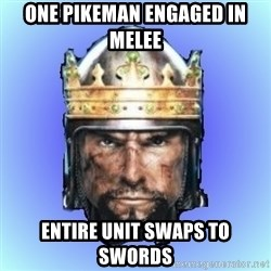 Medieval 2: Total War - One pikeman engaged in melee entire unit swaps to swords