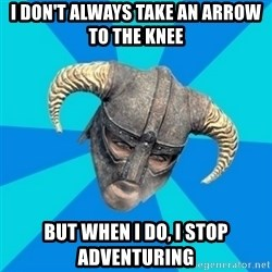 skyrim stan - i don't always take an arrow to the knee but when i do, i stop adventuring