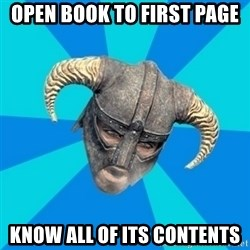 skyrim stan - open book to first page know all of its contents