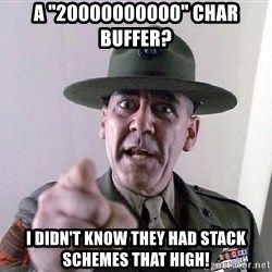 "SGTHARTMAN - A ""20000000000"" char buffer? I didn't know they had stack schemes that high!"