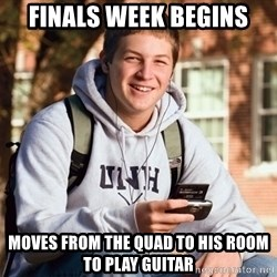 College Freshman - finals week begins moves from the quad to his room to play guitar