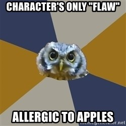 "Art Newbie Owl - character's only ""flaw"" allergic to apples"