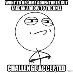 Challenge Accepted - want to become adventurer but take an arrow to the knee challenge accepted