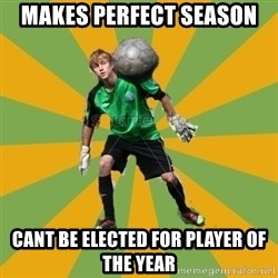 Golkeeper man  - Makes perfect season cant be elected for player of the year