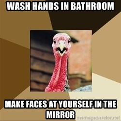 Quirky Turkey - Wash hands in bathroom make faces at yourself in the mirror