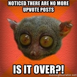 Scared lemur - noticed there are no more upvote posts is it over?!