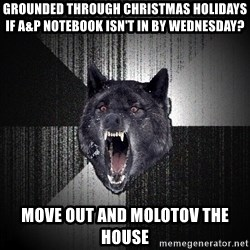 Insanity Wolf - Grounded through christmas holidays if a&p notebook isn't in by wednesday? Move out and Molotov the house