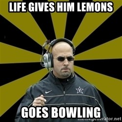 James Franklin Vanderbilt - life gives him lemons goes bowling