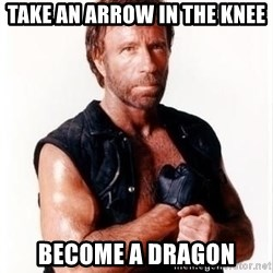 Chuck Norris Meme - take an arrow in the knee become a dragon