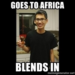 skinny kid - goes to africa BLENDS IN