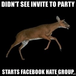 Drama Deer - didn't see invite to party starts facebook hate group