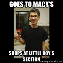 skinny kid - goes to macy's shops at little boy's section