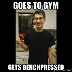 skinny kid - goes to gym gets benchpressed