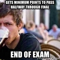 The Lazy College Senior - Gets minimum points to pass halfway through final end of exam