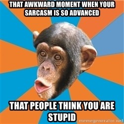 Stupid Monkey - that awkward moment when your sarcasm is so advanced that people think you are stupid