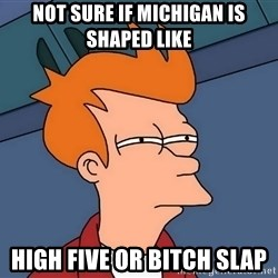 Futurama Fry - Not sure if michigan is shaped like  high five or bitch slap