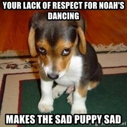 Sad Puppy - your lack of respect for Noah's dancing makes the sad puppy sad