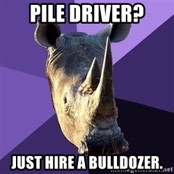 Sexually Oblivious Rhino - PILE DRIVER? jUST HIRE A BULLDOZER.