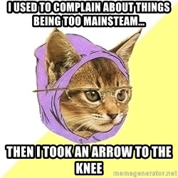Hipster Kitty - I used to complain about things being too mainsteam... then i took an arrow to the knee