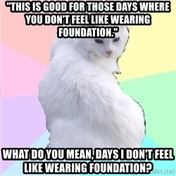 "Beauty Addict Kitty - ""This is good for those days where you don't feel like wearing foundation.""  What do you mean, days I don't feel like wearing foundation?"